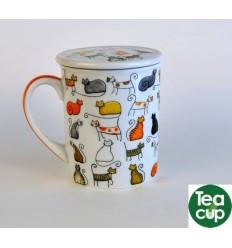 tazas de te con filtro y tapa gatitos